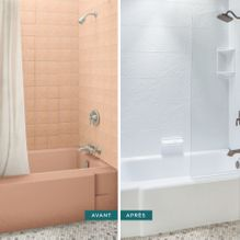 Before and after shower and faucet
