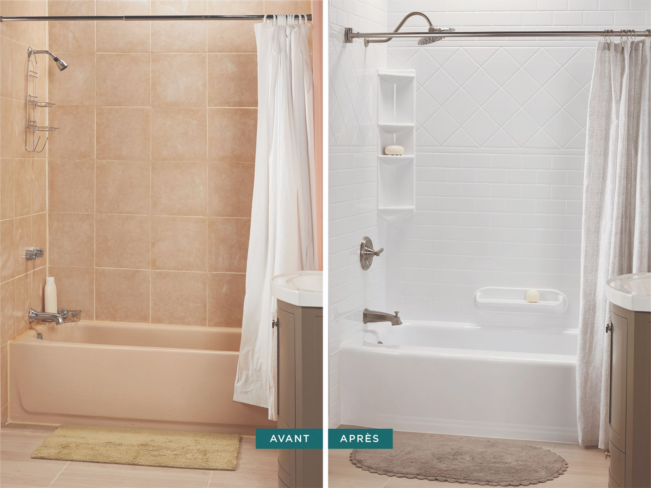 Before and after bathtub and faucet